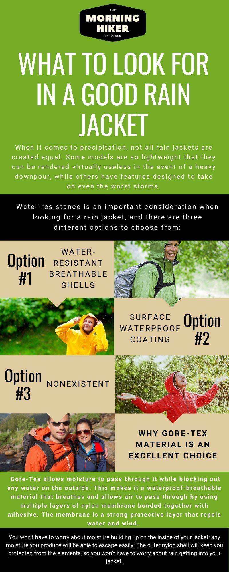 Infographic of What To Look For In A Good rain jacket